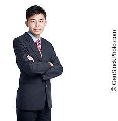 stående, asiat, kinesisk, affärsman