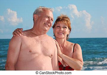 stående, av, åldrig, par, mot, hav