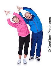 stående, av, a, äldre koppla, exercerande