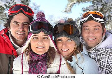 stående, av, a, familj, på, a, skidåkning helgdag, tillsammans