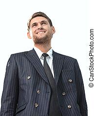 stående, av, a, framgångsrik, jurist, isolerat, vita, bakgrund