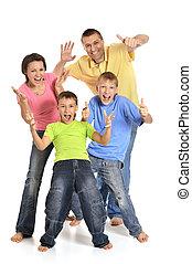 stående, av, a, glad, familj