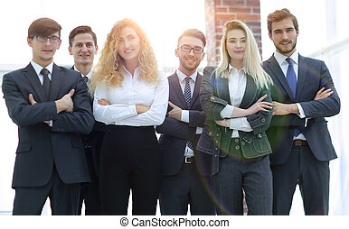 stående, av, a, professionell, affärsverksamhet lag