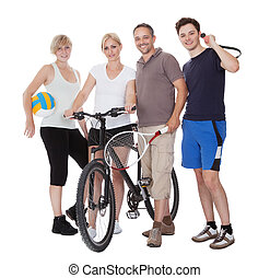 stående, av, a, sportig, familj