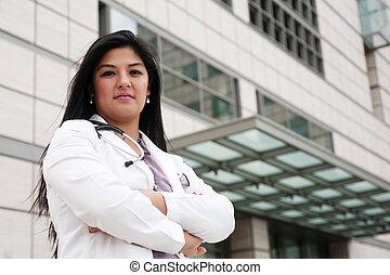 stående, av, a, ung, kvinna läkare