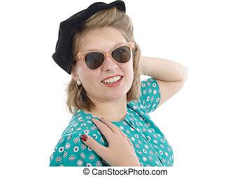 stående, av, a, vacker kvinna, med, årgång, kläder