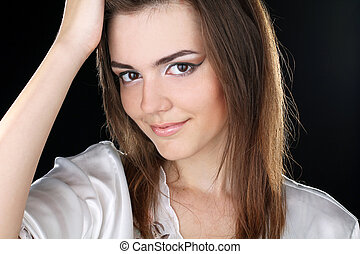 stående, av, a, vacker, kvinnlig, modell, på, svart fond
