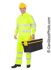 stående, av, arbetare, tröttsam, säkerhet skyddsomslag
