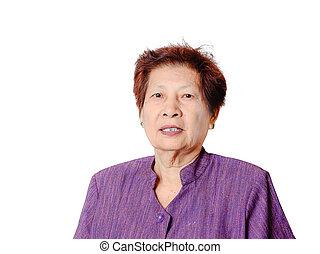 stående, av, asiat, äldre kvinna, isolerat, över, vit, bakgrund.