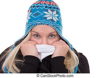 stående, av, blond, kvinna, in, vinter, kall, med, mössa, och, scarf