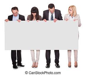 stående, av, businesspeople, grupp, holdingen, affisch