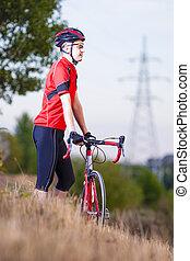 stående, av, caucasian, manlig, cyklist, in, professionell,...