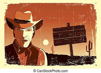 stående, av, cowboy, man.vector, grunge, västra, affisch