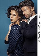 stående, av, den, sensuell, ungt par