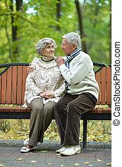stående, av, elderly kopplar ihop, in, höst, parkera