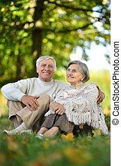 stående, av, elderly kopplar ihop, in, sommar, parkera