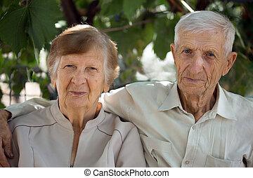 stående, av, farföräldrar