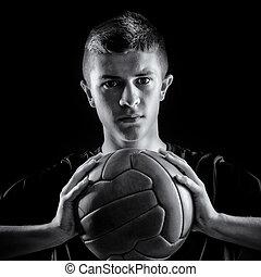 stående, av, fotboll spelare