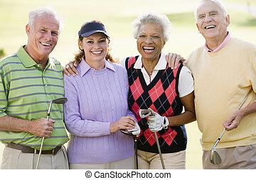 stående, av, fyra, vänner, avnjut, a, lek, golf