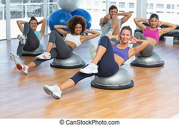 stående, av, glad, lämplighet kategori, gör, pilates, övning