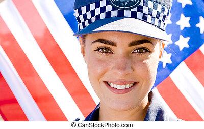 stående, av, kvinnlig polis