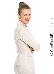 stående, av, le, affärsverksamhet kvinna