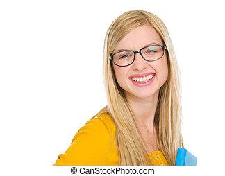 stående, av, le, student, flicka, in, glasögon, med, bok