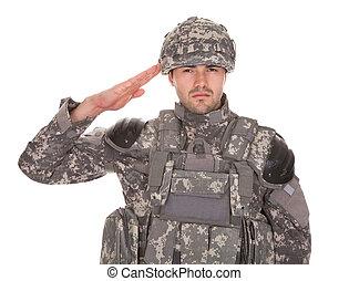 stående, av, man, in, militär uniformera, hälsa