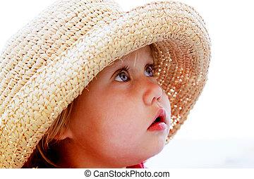 stående, av, söt, flicka, in, a, hatt