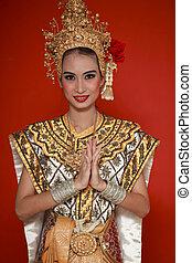 stående, av, thai, ung dam, in, en, forntida, thailand, dans