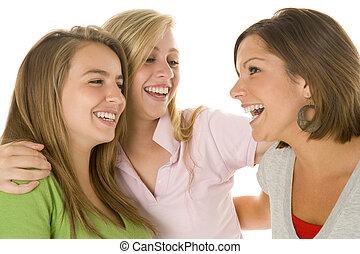 stående, av, tonårs- flickor