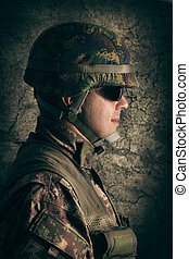 stående, av, ung, soldat