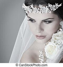 stående, av, vacker, bride., bröllop, dress., bröllop,...