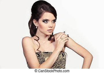 stående, av, vacker, kvinnlig, modell