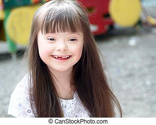 stående, av, vacker, ung flicka, på, den, playground.