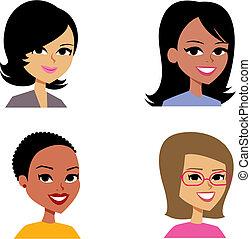 stående, avatar, tecknad film, illustration, kvinnor