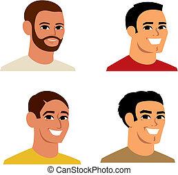 stående, avatar, tecknad film, illustration