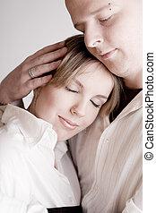 stående, avslappnad, par, ung, älskande