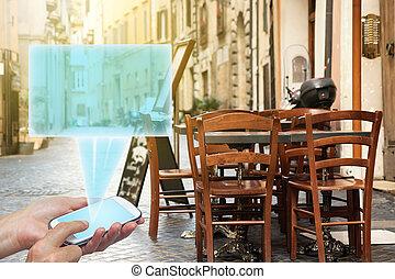 stående, begrepp, stol, resa, restaurang, gata, bord, tom