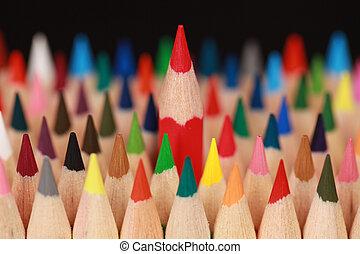 stående, blyertspenna, begrepp, folkmassa, röd, ute