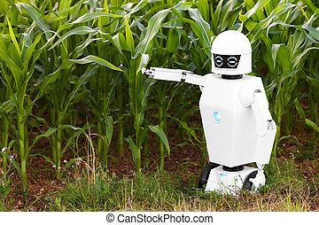 stående, bonde, sädesfält, främre del, robotic