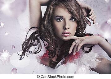 stående, brunett, skönhet