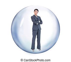 stående, bubbla, affärskvinna