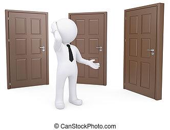 stående, dörrar, tre, tankfull, mänsklig, vit