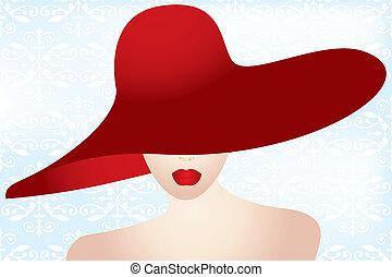 stående, dam, röd hatt