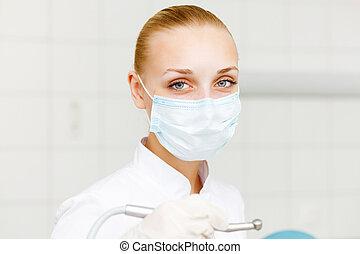stående, dental, arbetare