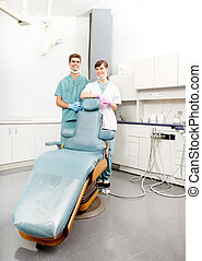 stående, dental, klinik