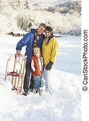 stående, familj, snöig, Kälke, ung, holdingen, landskap