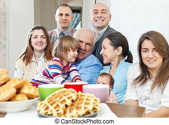 stående, familj, stort, hem
