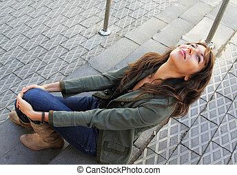 Stående, flicka,  25-years-old, utomhus